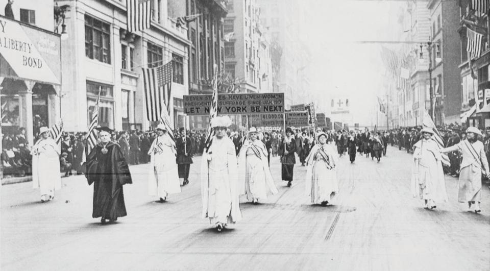Suffragettes and sympathizers marched down 5th Avenue New York in 1918.