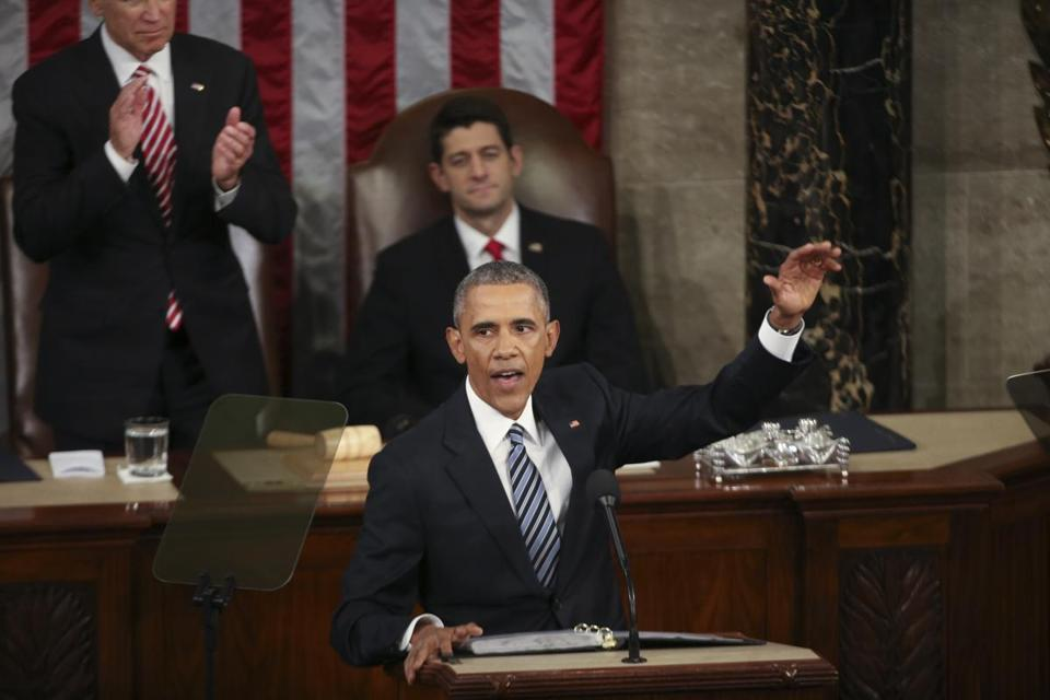 President Barack Obama during his final State of the Union address.