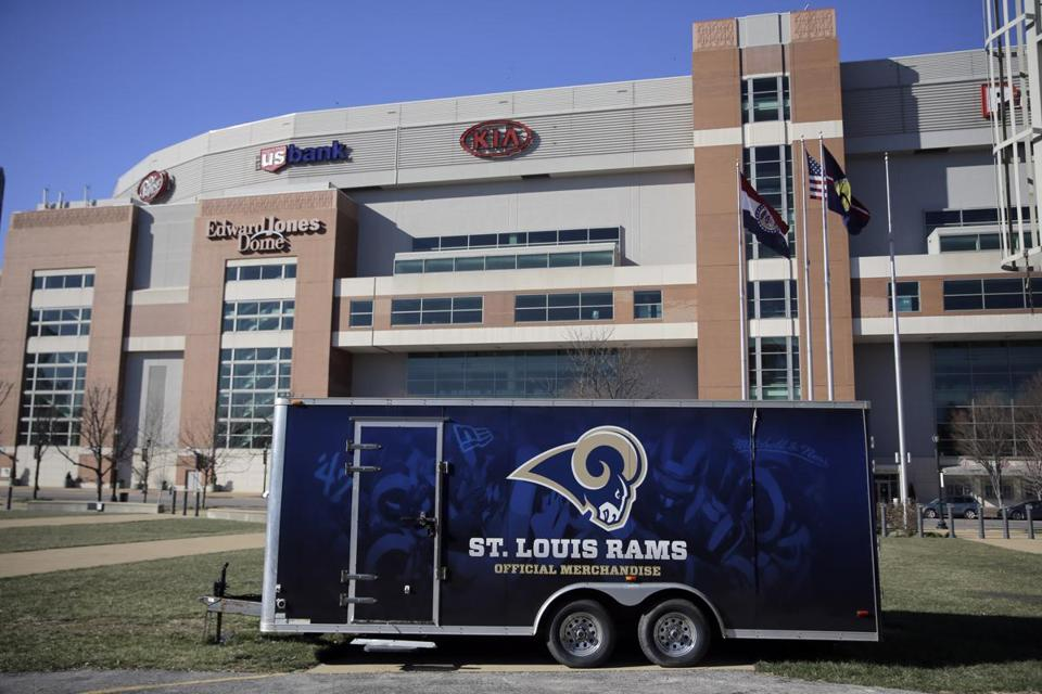 f075f12aa2b6 A merchandise trailer sits outside the Edward Jones Dome