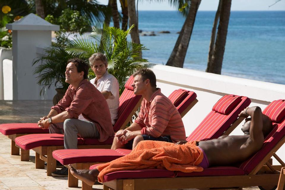 "From left: Ben Chaplin, Michael Imperioli, Steve Zahn, and Romany Malco in ""Mad Dogs,"" streaming on Amazon starting Friday."