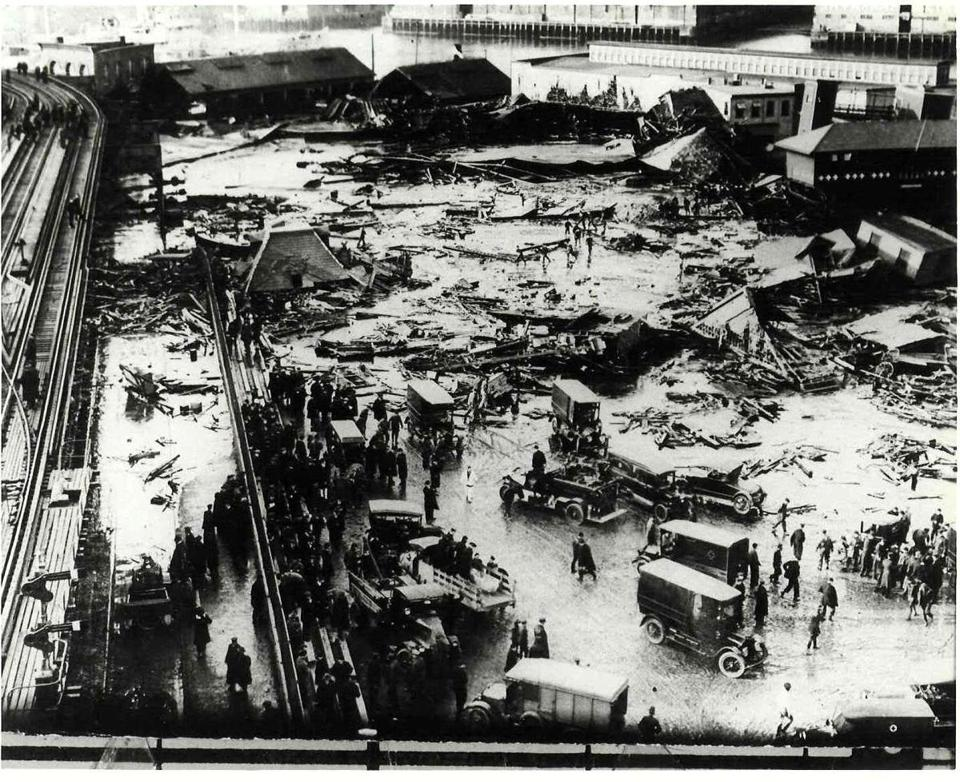 "A picture of North End buildings flattened by a flood of molasses in 1919 from the book ""Dark Tide: The Great Boston Molasses Flood of 1919."""