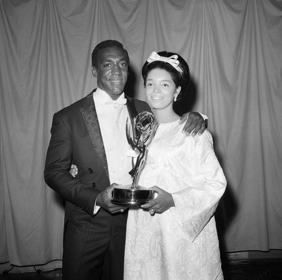 Bill and Camille Cosby in 1966 when he received an Emmy Award.