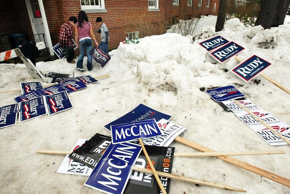 MANCHESTER, NH - JANUARY 08: Children gather campaign posters to play with at church a polling place January 8, 2008 in Manchester, New Hampshire. The New Hampshire presidential primaries are today and voter turnout appears to be very high. (Photo by Mario Tama/Getty Images)