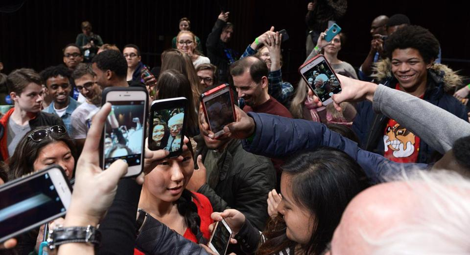 Bernie Sanders was surrounded by a crowd of young, selfie-seeking fans at Dartmouth College on Thursday.
