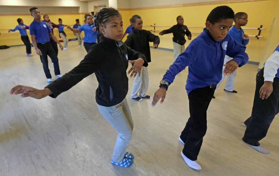 Codman Academy students participated in a dance class. The school has expanded to K-8 grades, while integrating Codman Square Health Center services.
