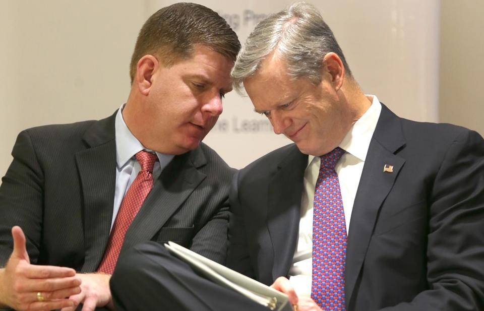 An unusual example of political teamwork between Democratic Mayor Martin J. Walsh (left) and Republican Governor Charlie Baker was a crucial factor in General Electric's decision to move its corporate headquarters to Boston from Fairfield, Conn.