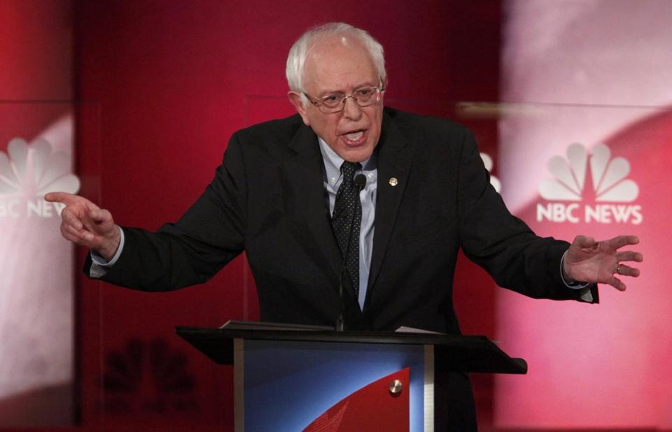 Senator Bernie Sanders spoke at the NBC News-YouTube Democratic presidential debate in Charleston on Sunday.