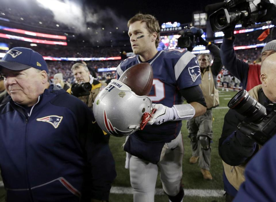 New England Patriots quarterback Tom Brady (12) leaves the field after an  NFL divisional 3295c0227