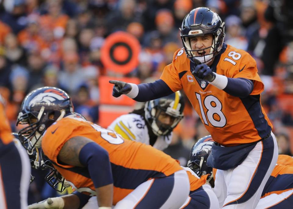 Peyton Manning completed 21 of 37 passes for 222 yards Sunday vs. the Steelers.