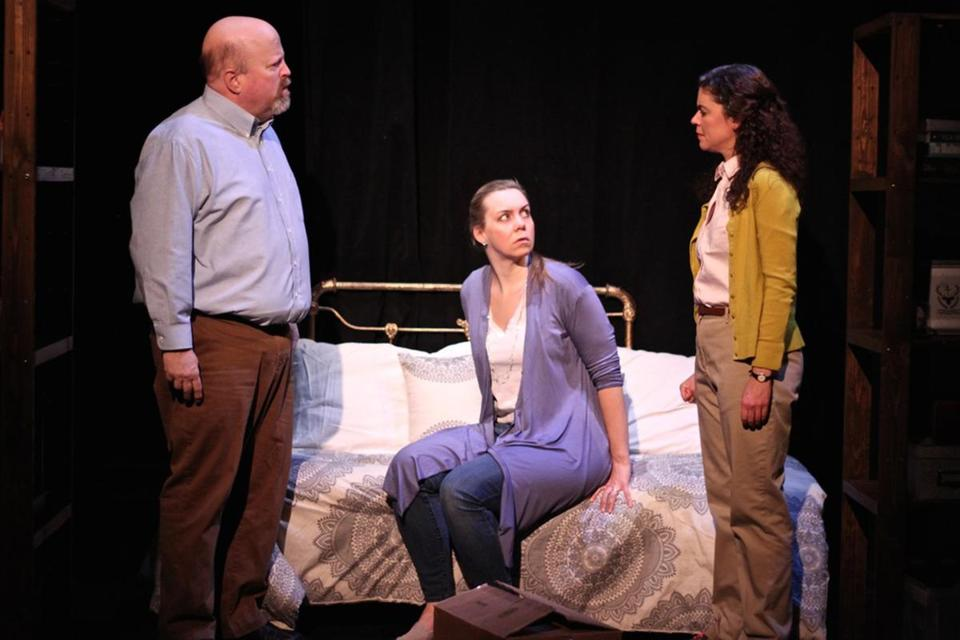 "From left: Dale J. Young, Gillian Mackay-Smith, and Margarita Martinez in Fresh Ink Theatre's ""The Housekeeper."""