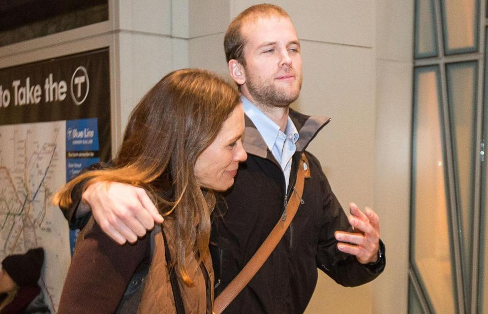 Matthew Trevithick was greeted by his mother at Logan airport on Jan. 17 after his release from an Iranian prison.