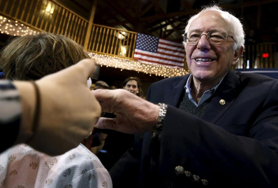 Democratic presidential candidate Bernie Saunders greeted attendees at a campaign event in Fort Dodge, Iowa, Tuesday.
