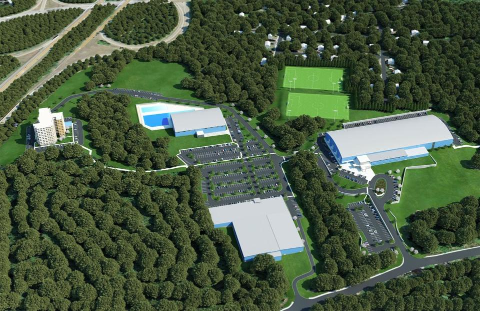 rendereing showing an aerial view of the new spots complex in Attleboro called New England Sports Village.