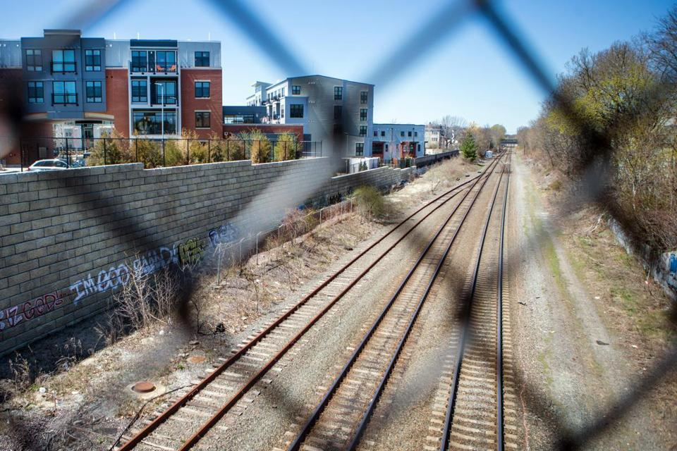 Train tracks along the proposed MBTA Green Line expansion area.