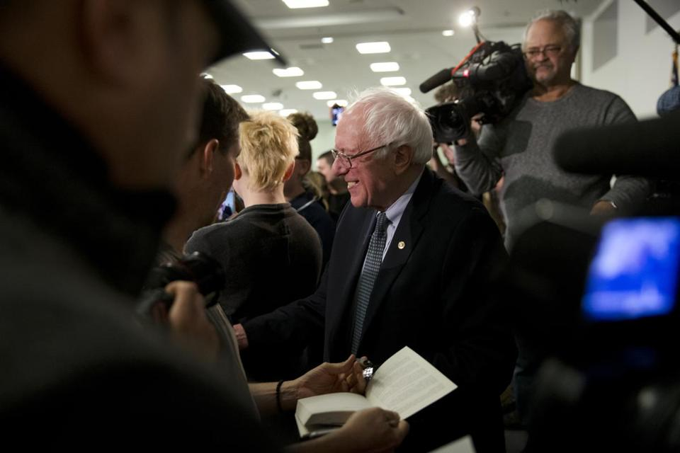 Senator Bernie Sanders greeted Southern New Hampshire students Thursday.