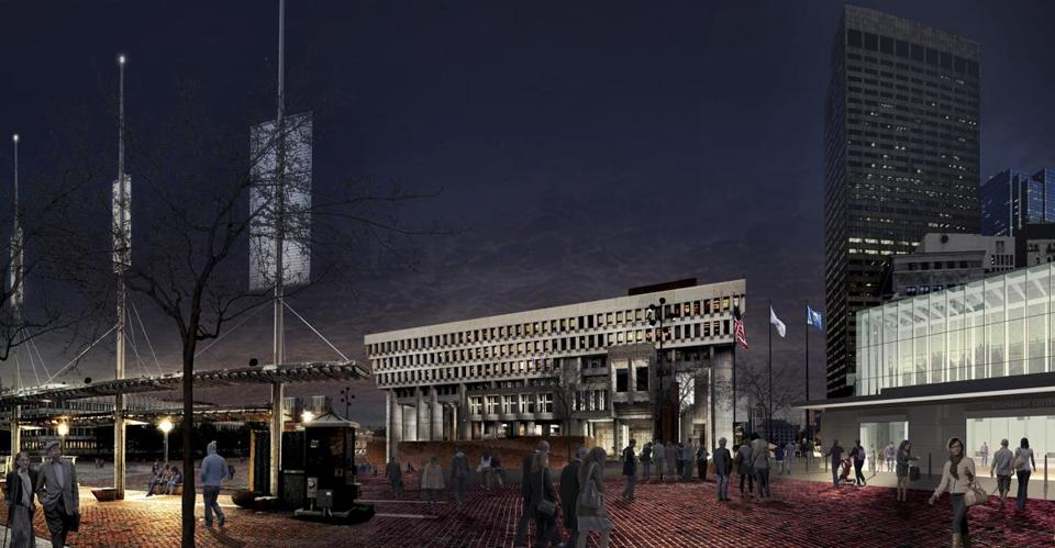 View from Plaza 2 new lights. *****- City Hall rendering for 24lights