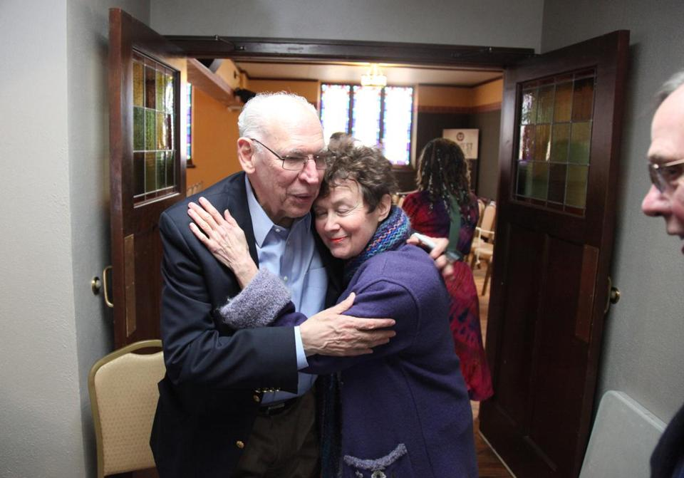 Rafael Cruz got a hug from Cheryl Kutscher, of West Des Moines, at his book signing at Harvest Bible Chapel in Grimes, Iowa, on Saturday.