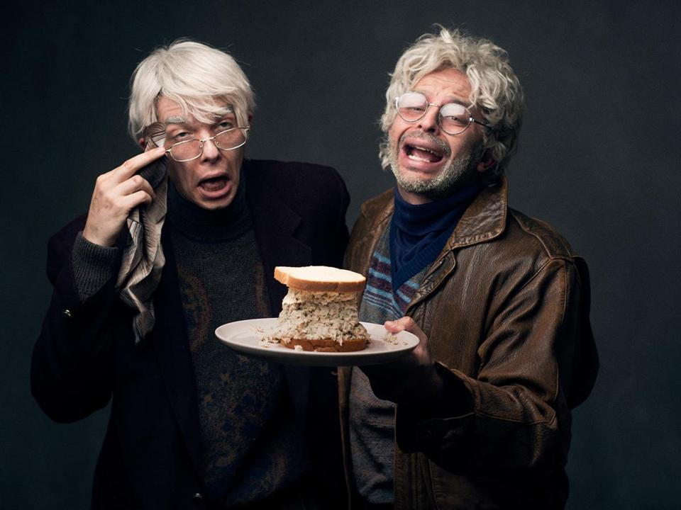"John Mulaney (left) and Nick Kroll star as 70-something theater-loving bachelors in ""Oh, Hello."""