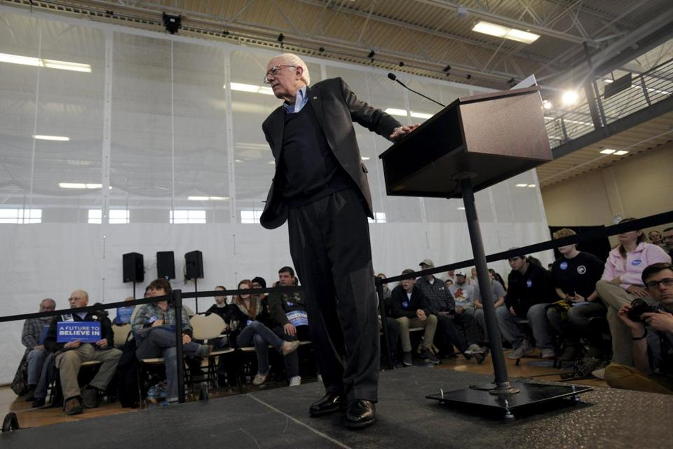 Bernie Sanders listened to a question at a town hall apoearance in Iowa Falls, Iowa, on Monday.