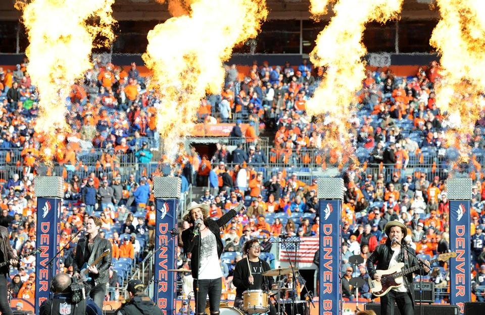 American Authors performed during halftime of the AFC Championship Game between the Patriots and Denver Broncos at Sports Authority Field at Mile High in Denver.