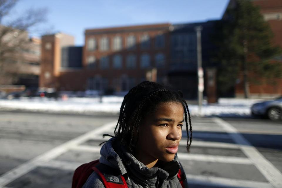 Imani Ziad, 14, of Dorchester, spoke about instances of racism at Boston Latin School.