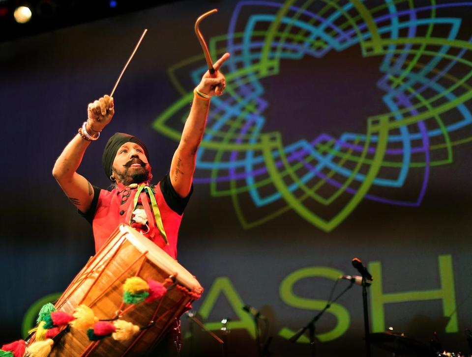 Johnny Kalsi of the Dhol Foundation performs at CRASHfest Sunday.