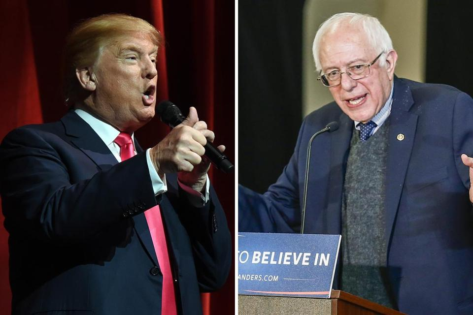 Donald Trump (left) and Bernie Sanders have virtually nothing in common except for outsider status and pie-in-the-sky policy priorities.