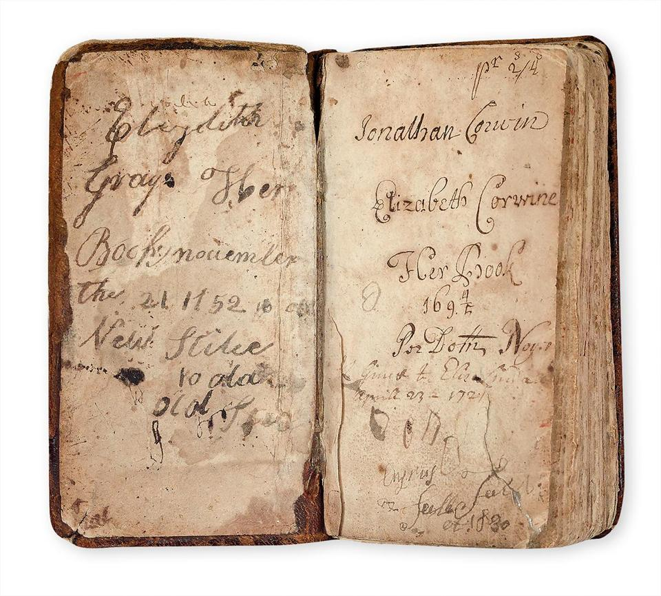 27witchbook -- The Psalms, Hymns, and Spiritual Songs or The Bay Psalm Book, the previously unknown seventh edition of the first book printed in North America, Boston, 1693. Estimate $30,000 to $40,000. At auction February 4. (Swann Auction Galleries)