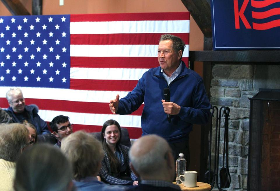 John Kasich attended a town hall-style meeting in Molly's Tavern and Restaurant Tuesday in New Boston, N.H.