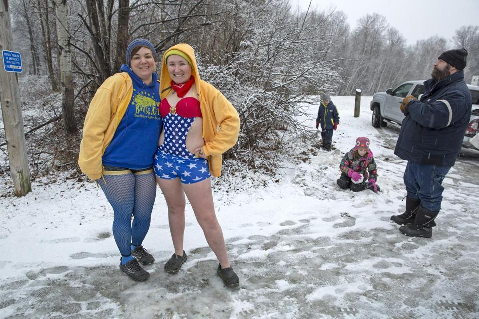 "Retha ""Wander Lust"" Charette (right) and Renee ""Roxy Slaughter"" Tower, posed for a photo before jumping into Lake Paran."