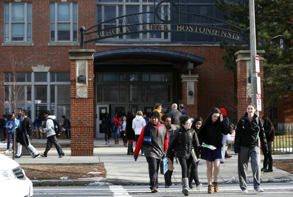 Students left Boston Latin School on Wednesday. Nearly half of Latin School's students are white, compared to 14 percent districtwide.