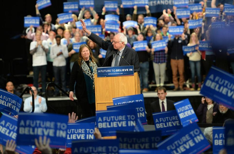 Bernie Sanders appeared at a rally in St. Paul on Tuesday. Overall, polls show him making gains against Hillary Clinton.