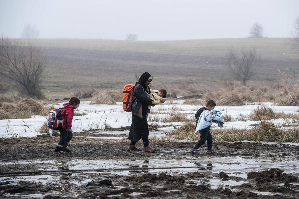 Migrants and refugees walk after crossing the Macedonian border into Serbia, near the village of Miratovac, on Jan. 27, 2016.