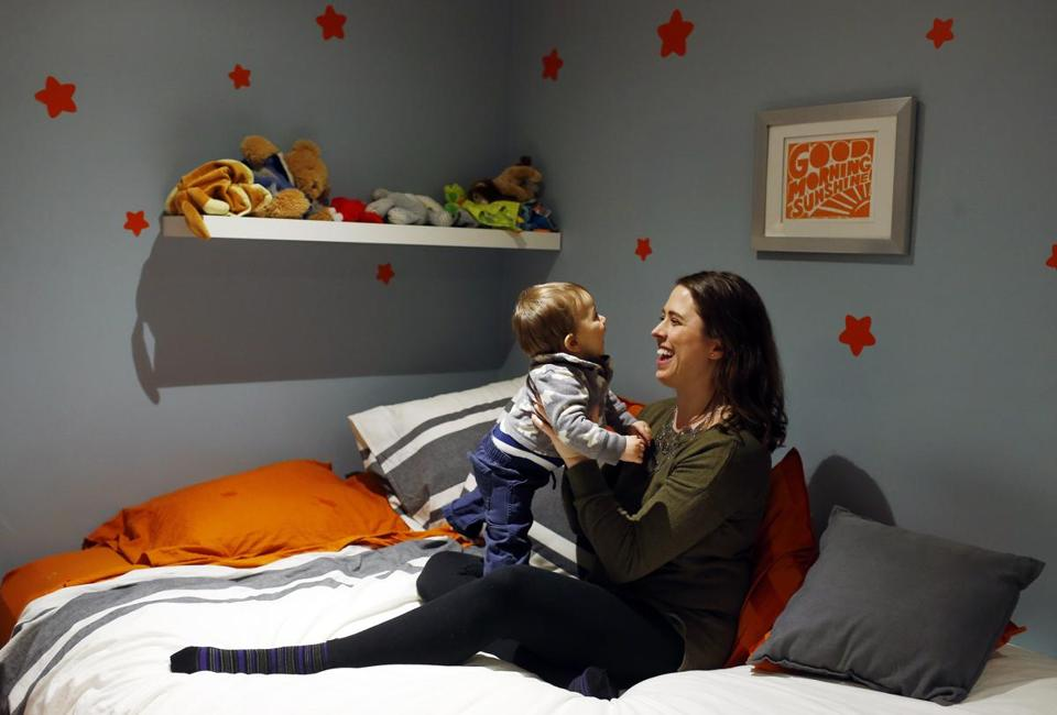 Christiane Boezio held her 11-month-old son, Oliver, her second child. There wasn't a nursery available for Oliver at Mass. General last February.