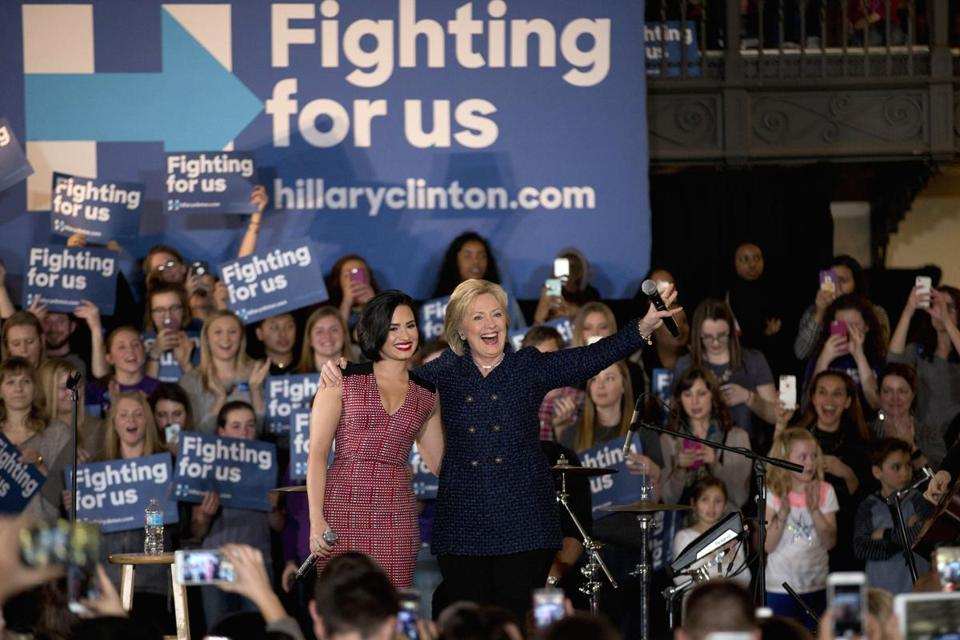Despite the backing of young celebrities like musician Demi Lovato Democratic presidental candidate Hillary Clinton has been losing ground with college-age voters.