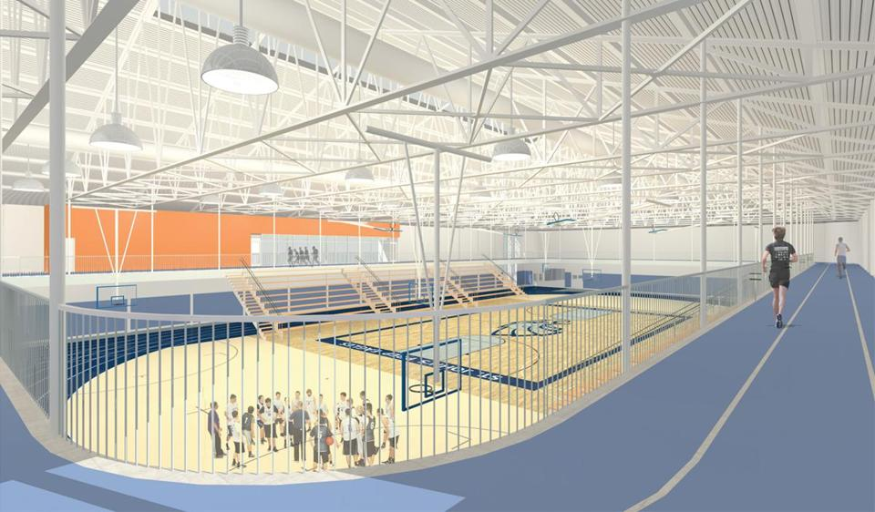 An overhead track will ring the field house.