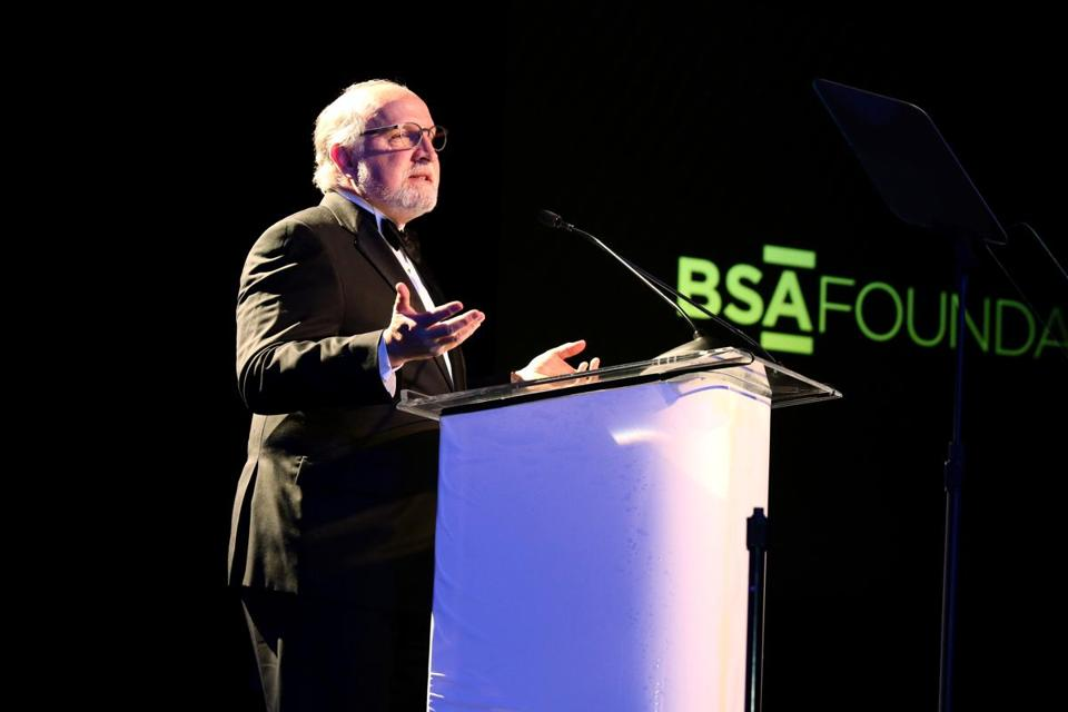 Boston, MA -- 01/28/16 -- Mike Davis, President of Bergmeyer, and Chair of the Boston Society of Architects, speaks during the BSA Awards Gala, held at the Intercontinental Boston on January 28, 2016. Not for other use until Magazine first published on 02/14/16. (Kayana Szymczak for the Boston Globe)