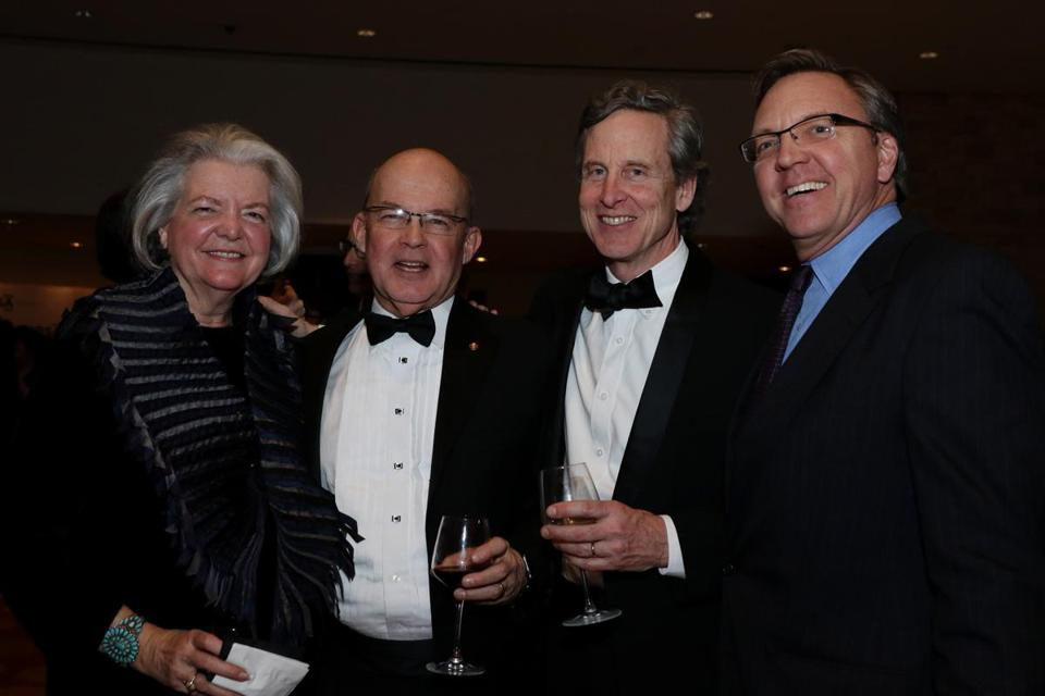 Boston, MA -- 01/28/16 -- L-R: Jane Weinzapfel, Principle at Leers Weinzapfel Associates, Peter Kuttner, President of Cambridge Seven Associates, Josiah Stevenson, Principle at Leers Weinzapfel Associates, and Timothy Mansfield, Principle at Cambridge Seven Associates, attended the Boston Society of Architects Design Awards Gala, held at the Intercontinental Boston on January 28, 2016. Not for other use until Magazine first published on 02/14/16. (Kayana Szymczak for the Boston Globe)