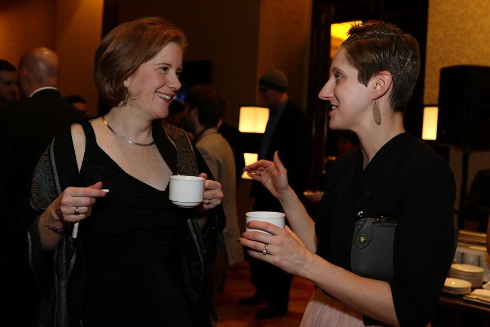 Boston, MA -- 01/28/16 -- Sarah Lindenfeld, Associate Principal at Payette (left), and Karen Robichaud, Communications Editor at Payette, attended the Boston Society of Architects Design Awards Gala, held at the Intercontinental Boston on January 28, 2016. Not for other use until Magazine first published on 02/14/16. (Kayana Szymczak for the Boston Globe)