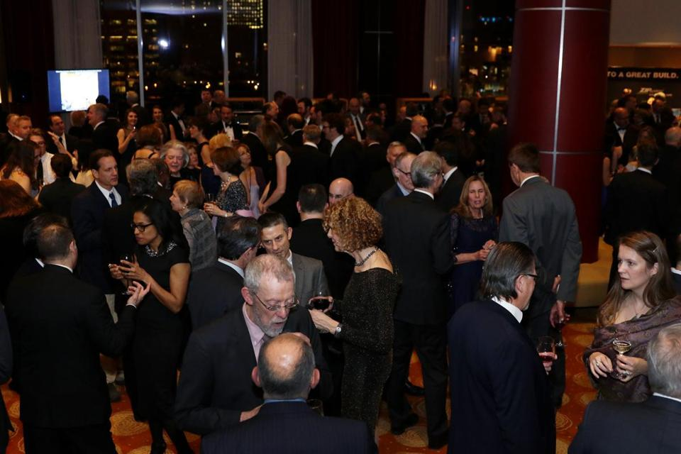 Boston, MA -- 01/28/16 -- A view of the reception during the Boston Society of Architects Design Awards Gala, held at the Intercontinental Boston on January 28, 2016. Not for other use until Magazine first published on 02/14/16. (Kayana Szymczak for the Boston Globe)