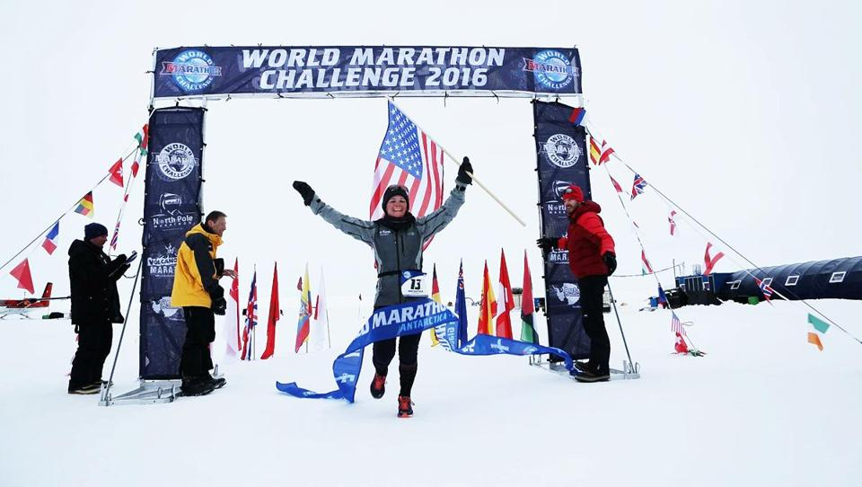 Pizzi crossed the finish line in Antarctica, the first of the seven races of the World Marathon Challenge.