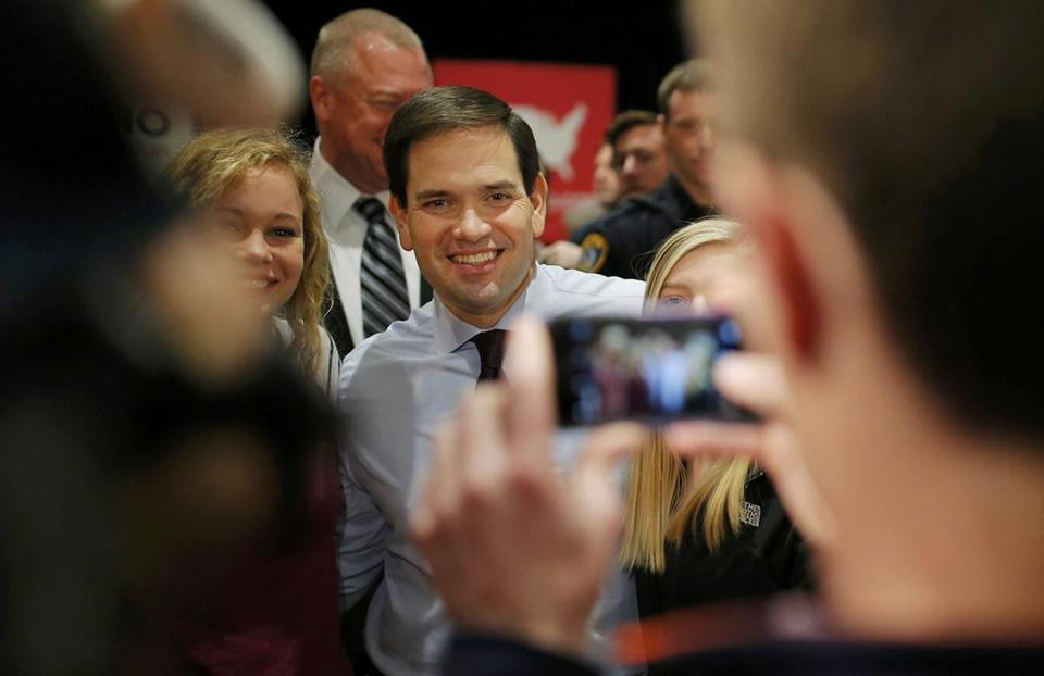 Marco Rubio's stops on Sunday included a rally at the University of Northern Iowa in Cedar Falls.