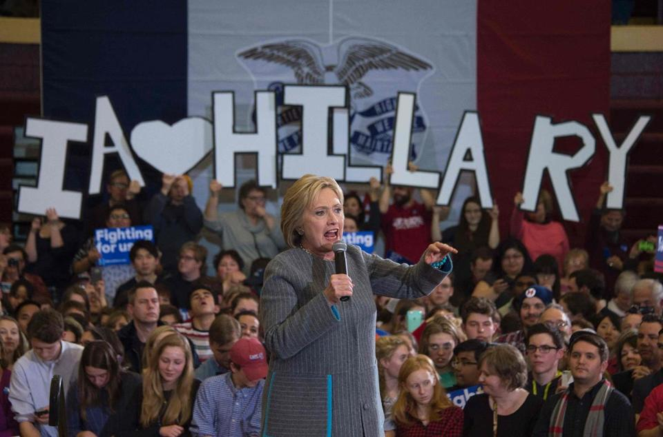 Hillary Clinton spoke at Abraham Lincoln High School in Des Moines on Sunday.