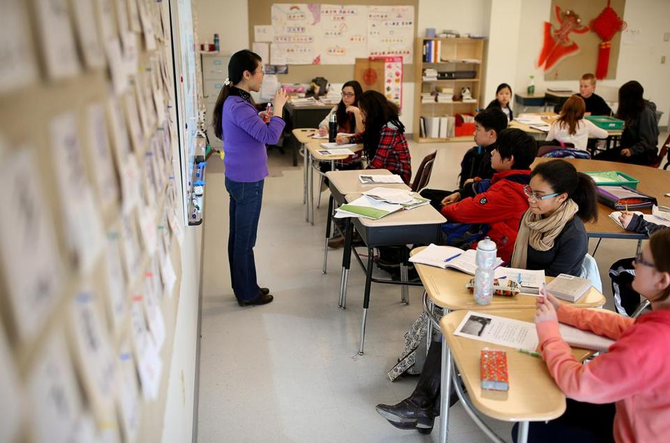 Seventh-grade Chinese teacher Xiaoying Li led a class at the Pioneer Valley Chinese Immersion Charter School. It's the only Chinese-language immersion program in Massachusetts with a kindergarten-through-grade-12 curriculum.