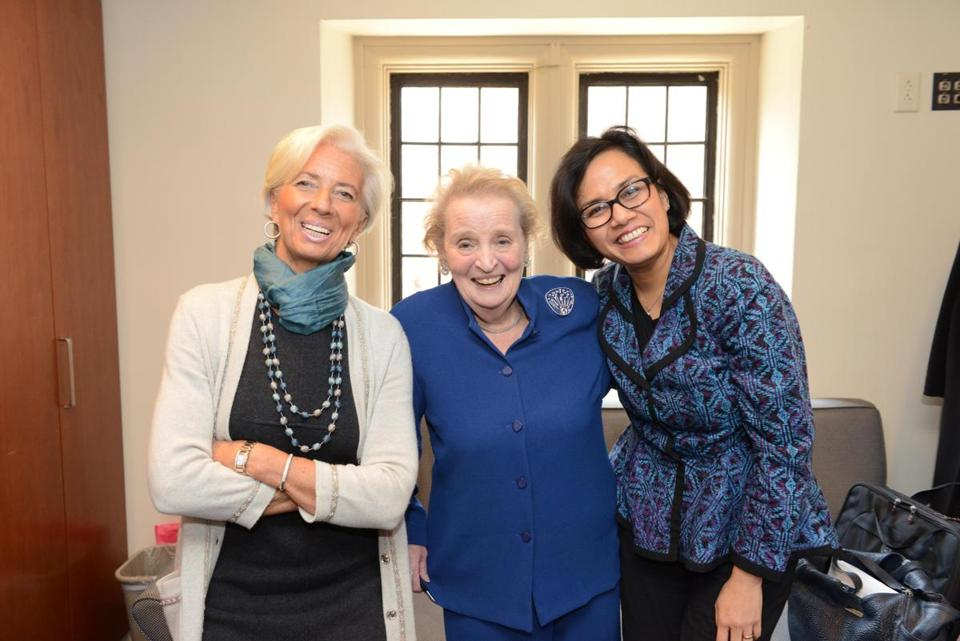 From left: Christine Lagarde, Madeleine Albright, and Sri Mulyani Indrawati at Wellesley.