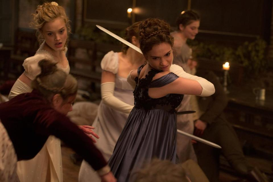 "Bella Heathcote (left) and Lily James in ""Pride and Prejudice and Zombies."""