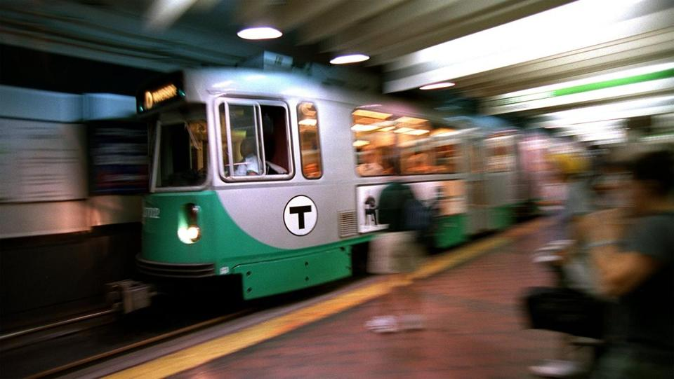 A Green Line train leaves Park Street Station.