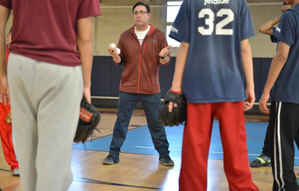 Ruben Amaro Jr. recently led a baseball clinic at the Curtis Hall Community Center in Jamaica Plain.