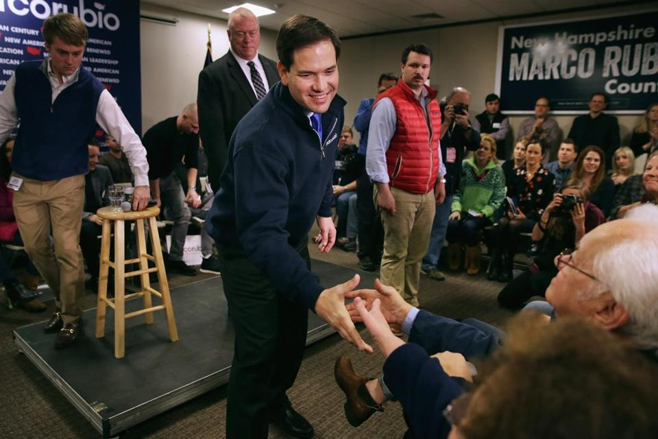Republican presidential candidate Sen. Marco Rubio greeted supporters in New Hampshire on Thursday.