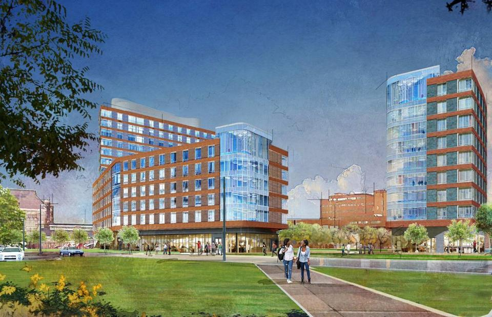 An architect's rendering of the residential complex, which would house 1,000 students.